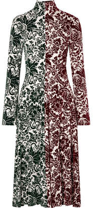 Rosie Assoulin Hans Yolo Flocked Jersey Midi Dress - Green