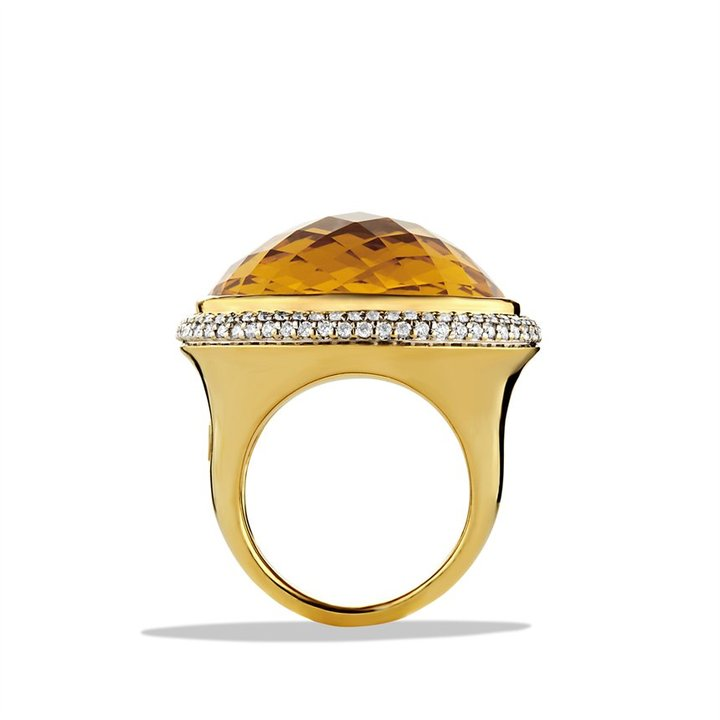 David Yurman DY Signature Oval Ring with Citrine and Diamonds in Gold