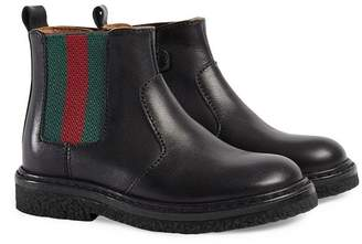 Gucci Kids Toddler leather boot with Web