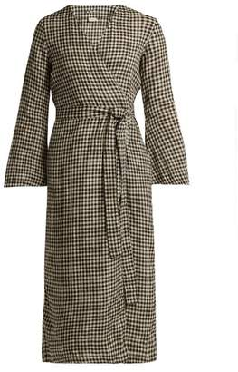 Once Milano - Checked Linen Robe - Womens - Black Print