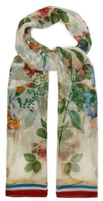 Dolce & Gabbana Floral Print Silk Chiffon Scarf - Womens - White