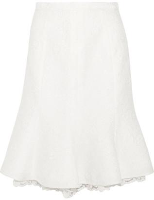 Oscar de la Renta - Fluted Lace-trimmed Cotton-blend Cloqué Skirt - White $1,690 thestylecure.com