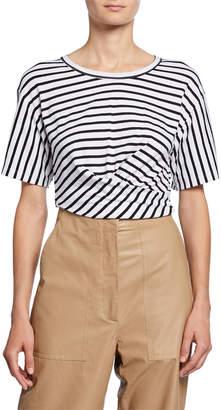 A.L.C. Jules Striped Short-Sleeve Tie-Back Crop Tee
