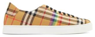 Burberry Rainbow House Check Low Top Trainers - Womens - Beige Multi