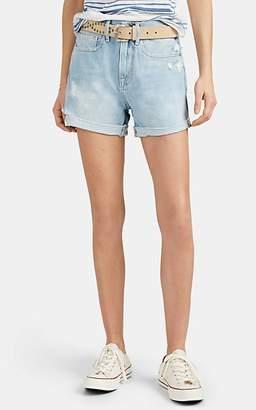 Frame Women's Brigette Raw-Edge Cuffed Denim Shorts - Blue