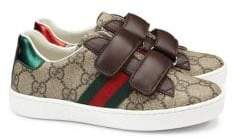 Gucci Kid's GG Supreme Canvas Strap Shoes