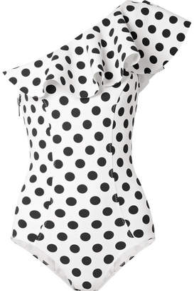Lisa Marie Fernandez Arden Ruffled One-shoulder Polka-dot Bonded Swimsuit - White