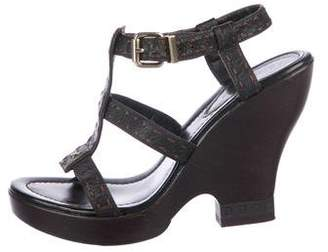 Fendi Leather Ankle-Strap Wedges
