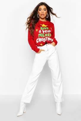 boohoo Merry Christmas Flashing Light Jumper