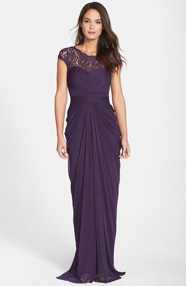 Adrianna Papell Women's Adrianna Papell Lace Yoke Drape Gown