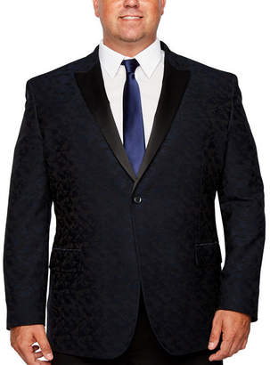 Jf J.Ferrar Formal Stretch Navy Camouflage Classic Fit Sport Coat - Big and Tall