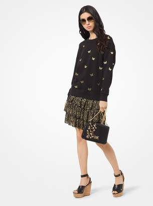 MICHAEL Michael Kors Butterfly Embroidered Cotton Terry Sweatshirt