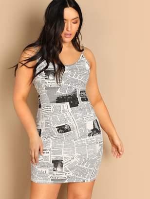 6da608222ed Shein Plus Newspaper Print Bodycon Slip Dress