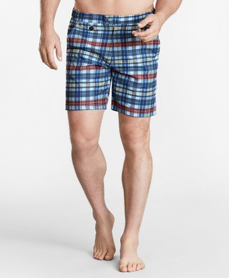 "Brooks Brothers Newport 7"" Plaid Swim Trunks"