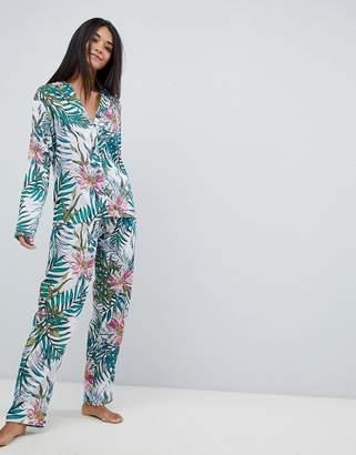 Asos Design Botanical 100% Modal Traditional Shirt & Wide Leg Pyjama Set