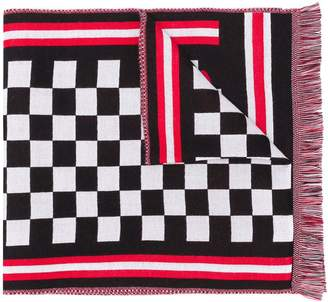 McQ check print logo scarf