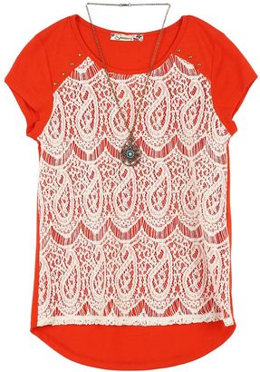 Girls 7-16 Speechless Lace Overlay Top with Necklace $36 thestylecure.com