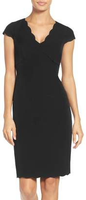 Adrianna Papell Scalloped Crepe Sheath Dress