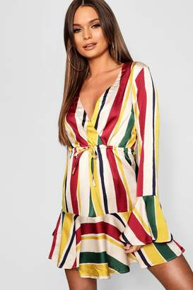 boohoo Multi Stripe Flared Hem Skater Dress