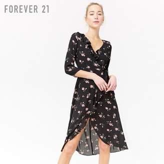 Forever 21 (フォーエバー 21) - フリルトリムフラワーラップワンピース