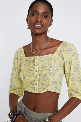Urban Outfitters Laura Floral Button-Front Cropped Top