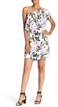 Vince Camuto Glacier Floral Print One-Shoulder Ruffle Dress