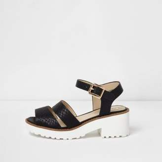 River Island Girls black croc embossed chunky sandals