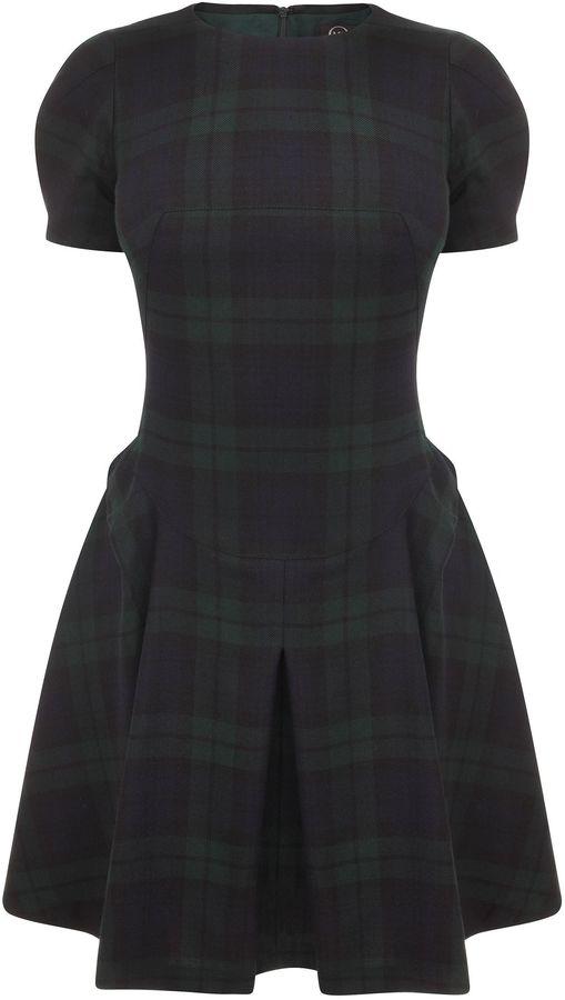Black Watch Tartan Origami Mini-Dress