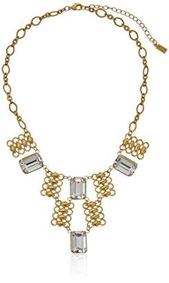 "1928 Jewelry 14k Gold-Dipped Swarovski Crystal Bib Necklace, 16"" + 3"" Extender $60 thestylecure.com"