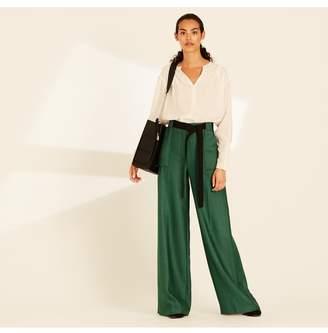 Amanda Wakeley Emerald Herringbone Wide Leg Trousers