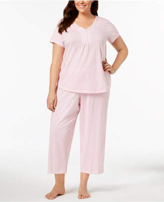 Charter Club Plus Size Dotted Cotton Pajama Set, Created for Macy's