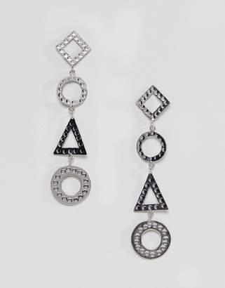 Asos DESIGN Hammered Geo Shape Strand Earrings