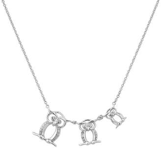 FINE JEWELRY Diamonart Womens Cubic Zirconia Sterling Silver Owl Pendant Necklace