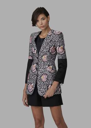 Giorgio Armani Mulberry Silk Jacket With Foliage Pattern And Contrasting Inserts