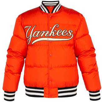 Gucci Ny Yankees Appliqued Down Filled Bomber Jacket - Mens - Orange