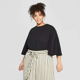 Who What Wear Women's Plus Size Bell Sleeve Crewneck Top