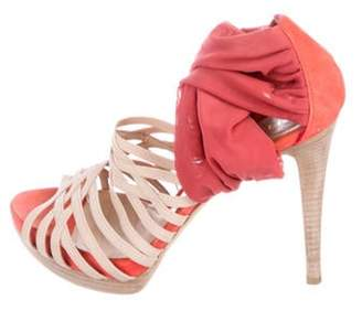 Fendi High-Heel Multi-Strap Sandals Orange High-Heel Multi-Strap Sandals