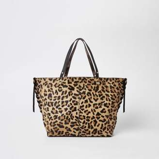 River Island Brown leopard print leather shopper