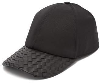 Bottega Veneta Intrecciato Leather And Cotton Blend Cap - Mens - Black