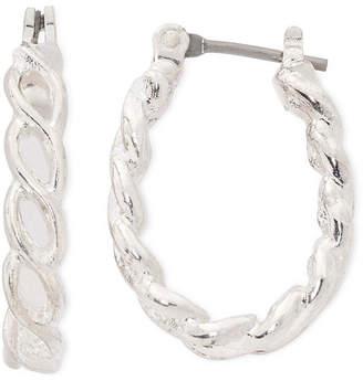 Liz Claiborne Silver-Tone Small Rope Hoop Earrings