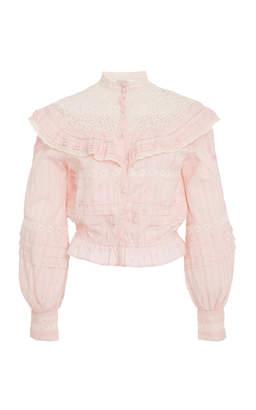LoveShackFancy Austen Lace Ruffle Top