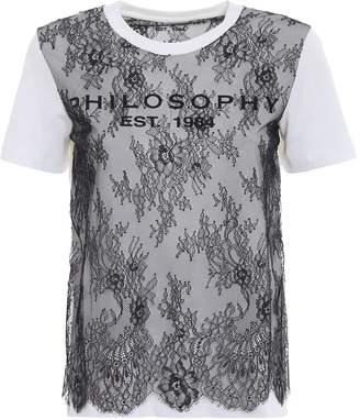 Philosophy di Lorenzo Serafini See-through Lace Embellished White Tee