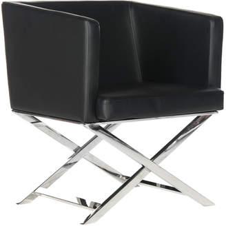 Safavieh Celine Bonded Leather Chrome Cross Leg Chair