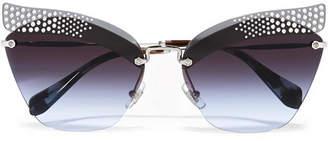 Miu Miu Crystal-embellished Cat-eye Silver-tone Sunglasses - Blue
