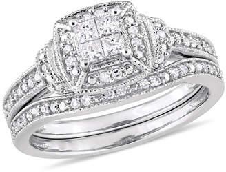 Zales 1/3 CT. T.W. Quad Princess-Cut Diamond Frame Collar Vintage-Style Bridal Set in 10K White Gold