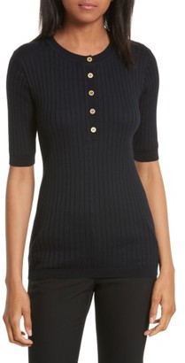 Women's Tory Burch Ribbed Cotton & Cashmere Henley $228 thestylecure.com