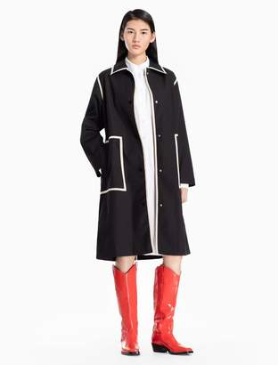 Calvin Klein cotton woven piped long trench coat