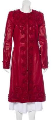 Oscar de la Renta Leather Long Coat