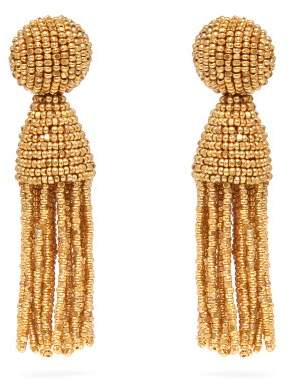 Oscar de la Renta Bead Embellished Tassel Drop Earrings - Womens - Gold