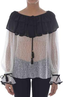 Philosophy di Lorenzo Serafini Ruffled Scoop Neck Blouse